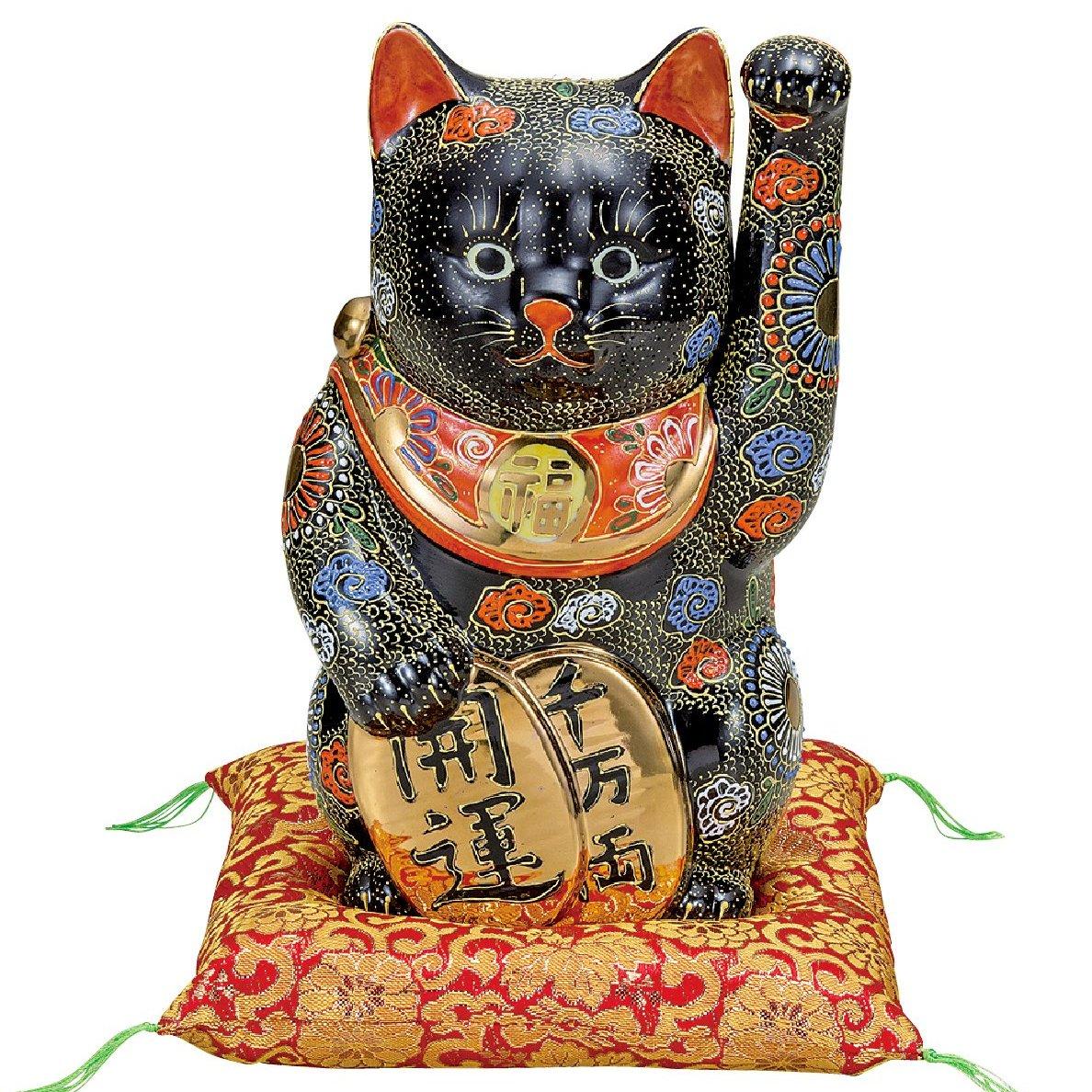 九谷焼ギフト ご贈答品 御祝い 九谷焼8号小判招き猫 黒盛(布団付)