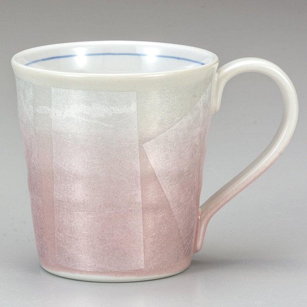 九谷焼ギフト ご贈答品 御祝い 九谷焼マグカップ 銀彩ピンク