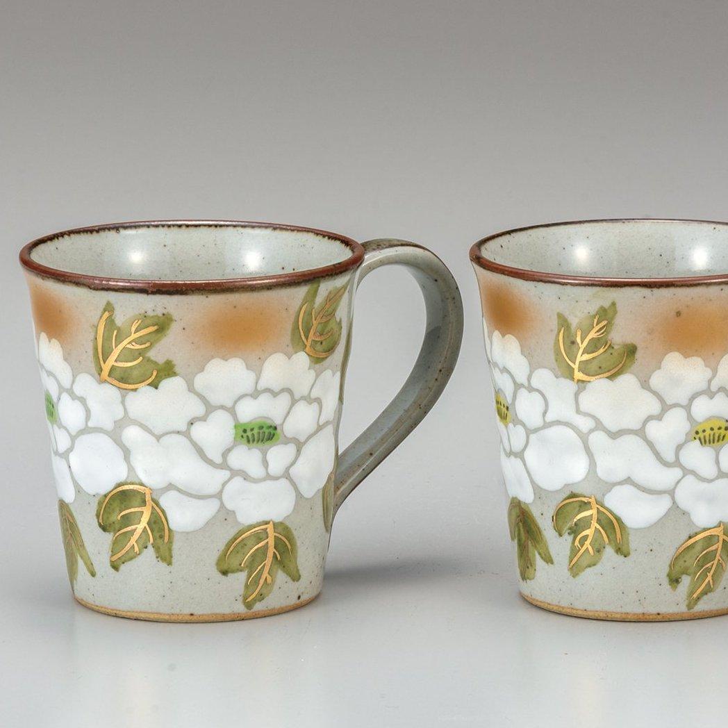 九谷焼ギフト ご贈答品 御祝い 九谷焼ペアマグカップ 白牡丹
