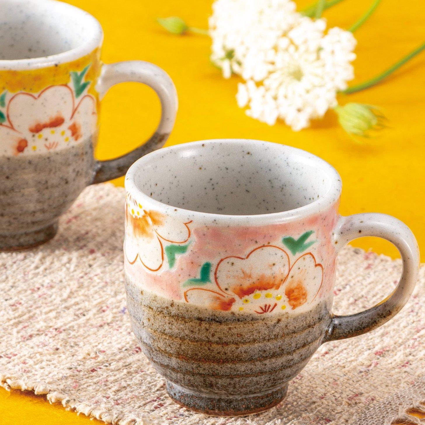九谷焼ギフト ご贈答品 御祝い 九谷焼ペアマグカップ 花文