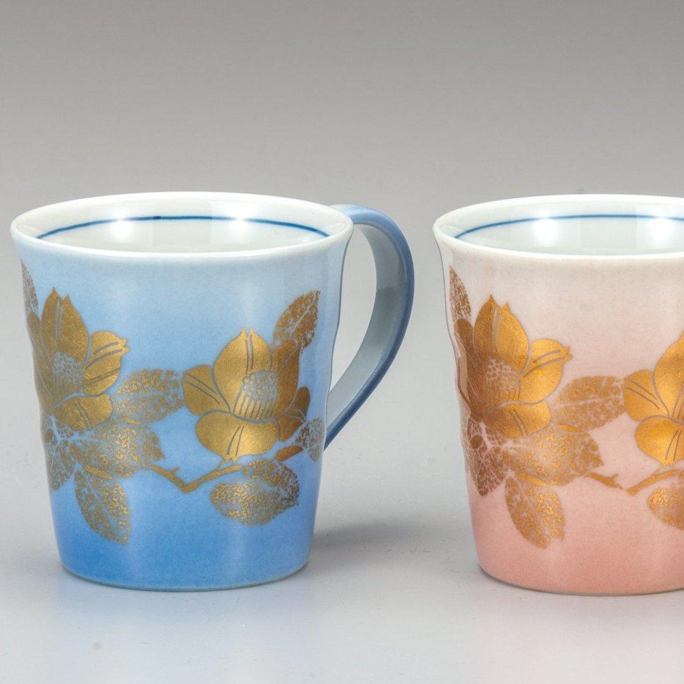 九谷焼ギフト ご贈答品 御祝い 九谷焼ペアマグカップ 本金山茶花
