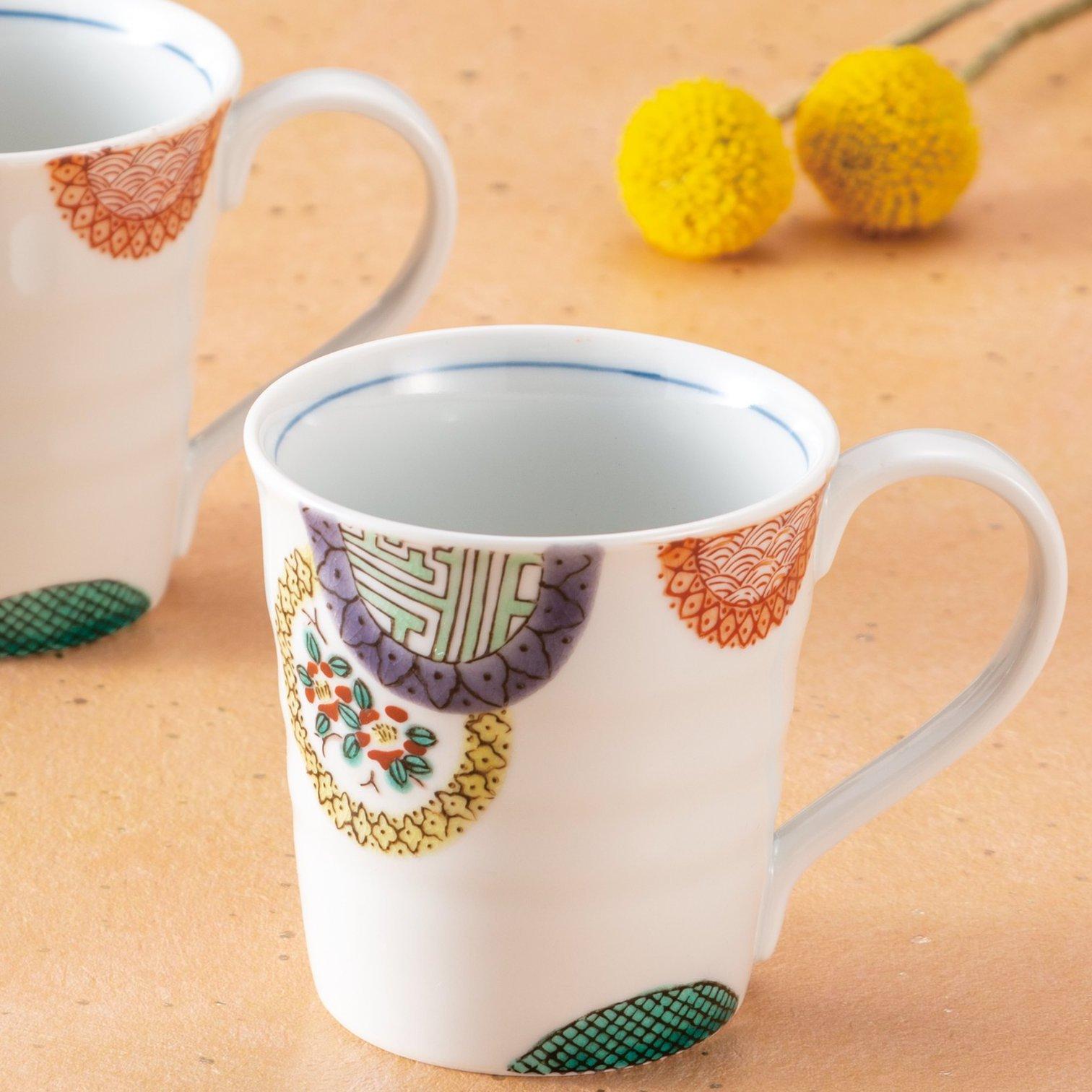 九谷焼ギフト ご贈答品 御祝い 九谷焼ペアマグカップ 色絵丸紋