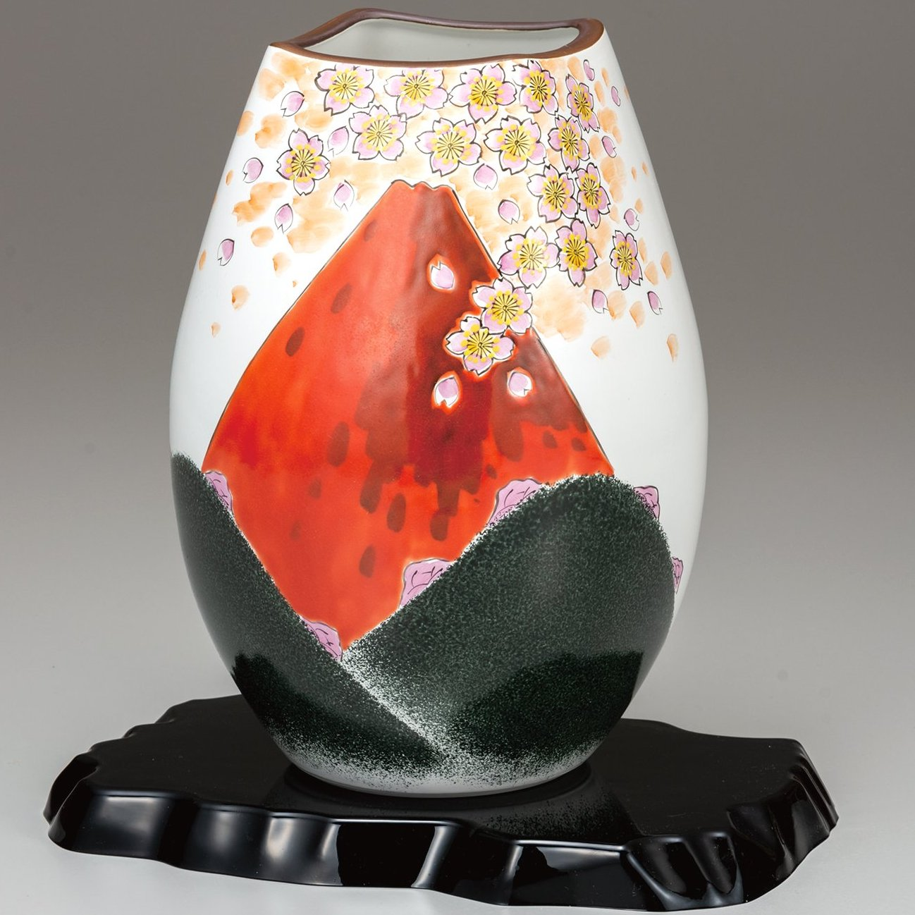 九谷焼ギフト ご贈答品 御祝い 九谷焼8号花瓶 赤富士(台付)