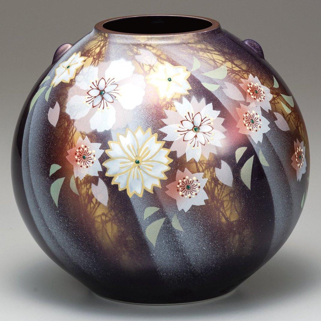 九谷焼ギフト ご贈答品 御祝い 九谷焼7号花瓶 陽光花の舞