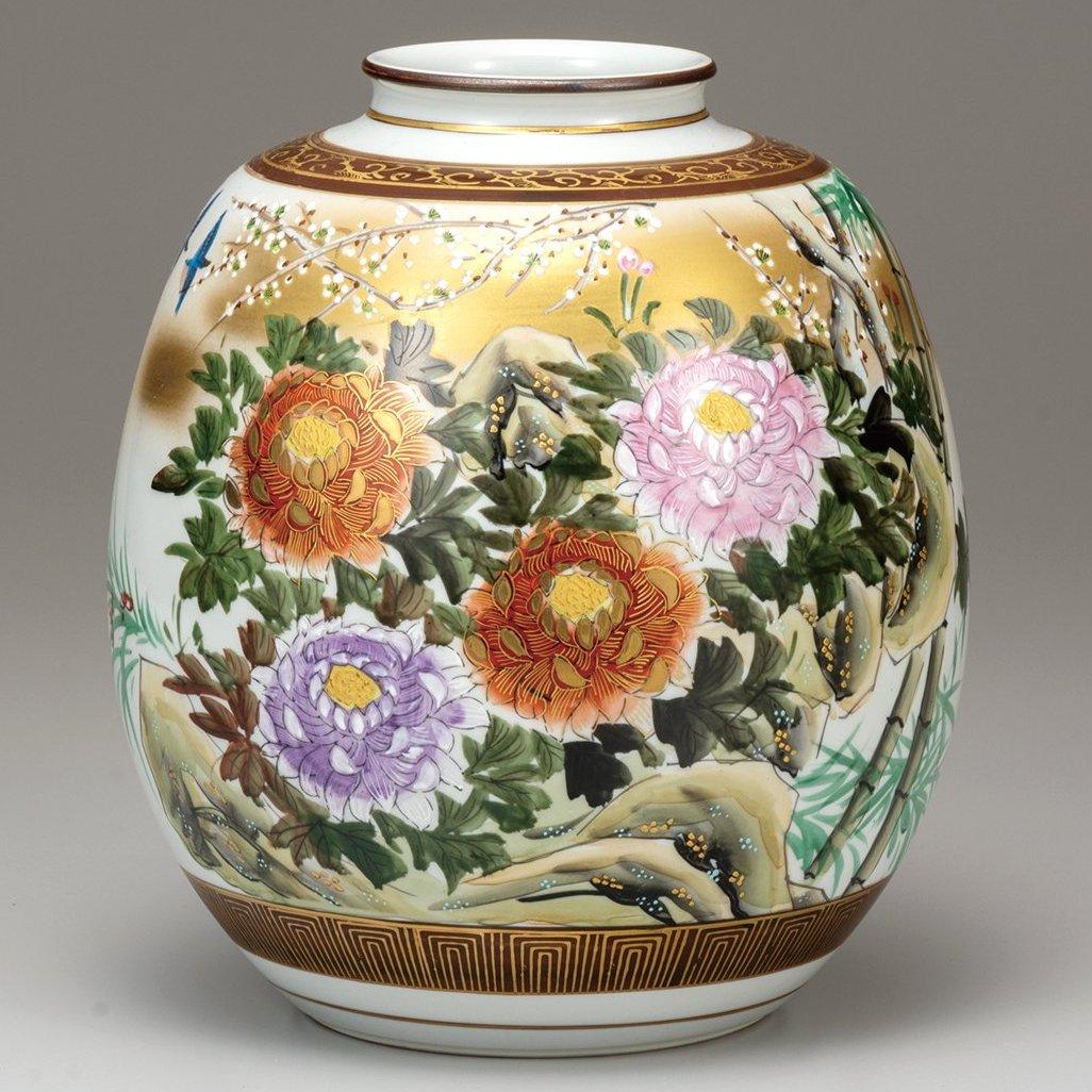 九谷焼ギフト ご贈答品 御祝い 九谷焼8号花瓶 本金牡丹鳥 光崖窯