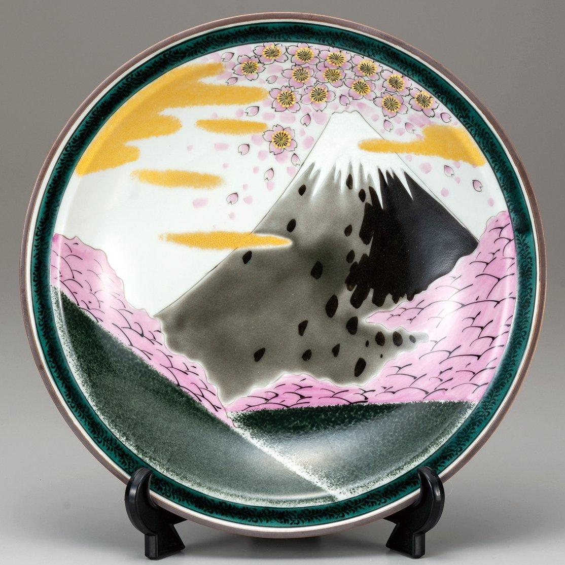 九谷焼ギフト ご贈答品 御祝い九谷焼10号飾皿 桜富士(皿立付)