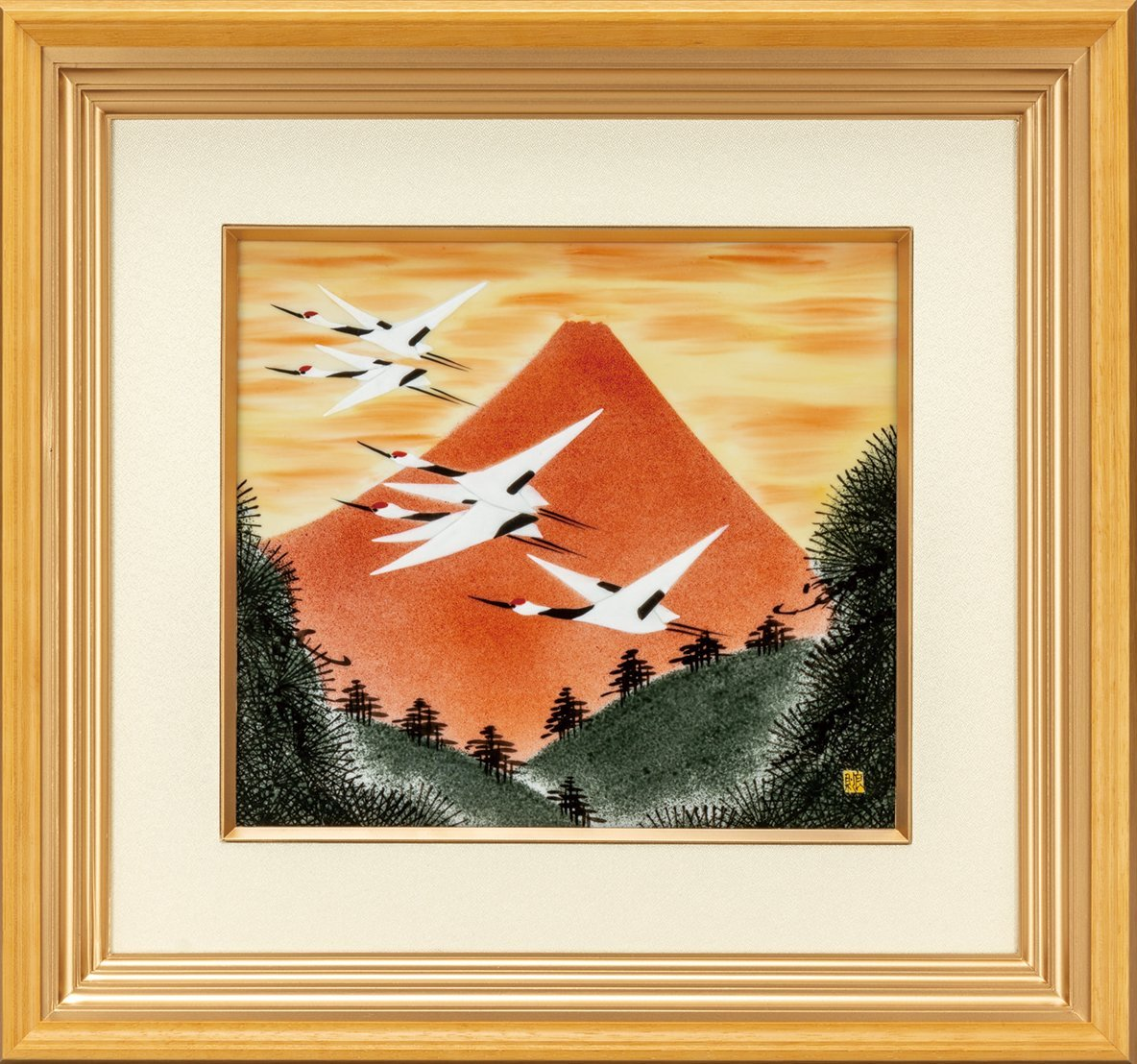【送料無料】九谷焼ギフト ご贈答品 御祝い 九谷焼陶額 赤富士に鶴 福田良則