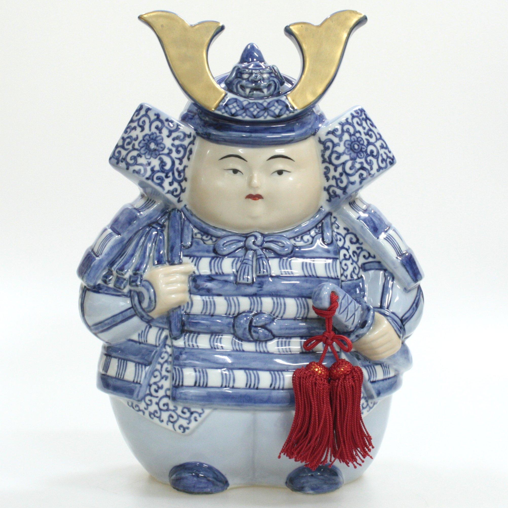 九谷焼ギフト 端午の節句 初節句御祝い 九谷焼8.5号武者人形 金彩染付