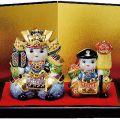 九谷焼ギフト 端午の節句 初節句御祝い 九谷焼3号武者人形揃 盛 (台・屏風・敷物・立札付)