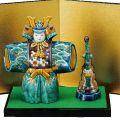 九谷焼ギフト 端午の節句 初節句御祝い 九谷焼5.5号武者人形 青九谷 (台・屏風・敷物・立札付) 糠川孝之