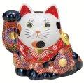 九谷焼ギフト ご贈答品 御祝い 九谷焼5号横座り招き猫 盛