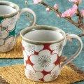 九谷焼ギフト ご贈答品 御祝い 九谷焼ペアマグカップ 赤青梅