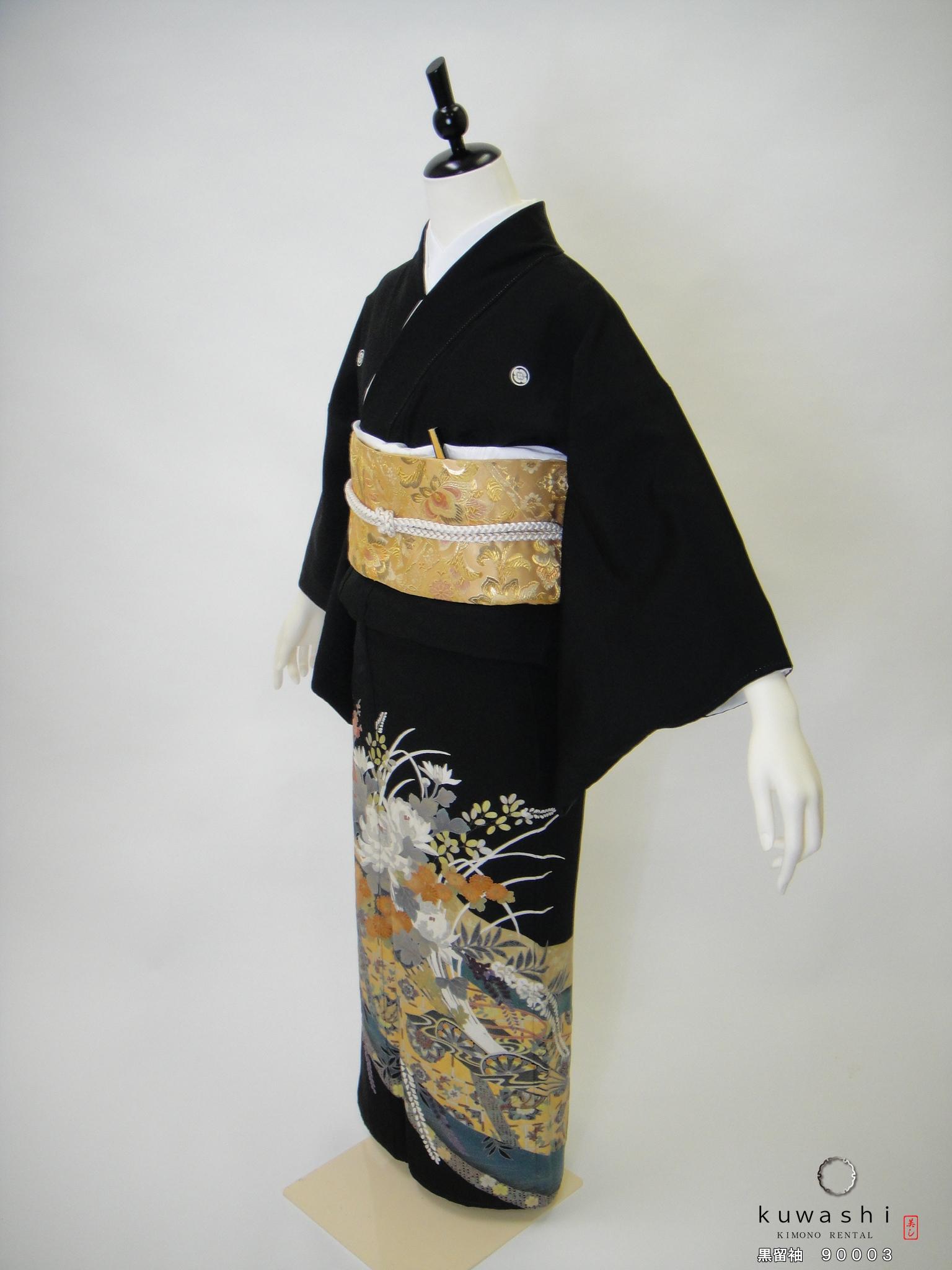 黒留袖レンタル 正絹 貸衣装 結婚式 親着物 高級 格安 おしゃれ 相良刺繍 金箔 豪華