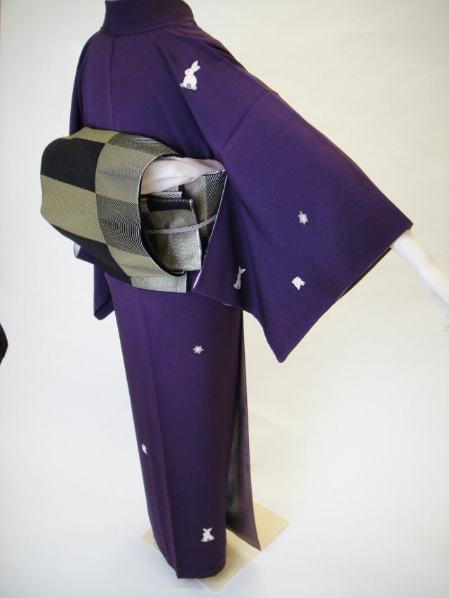 クワシ着物レンタル 紫紺兎と亀正絹付下小紋
