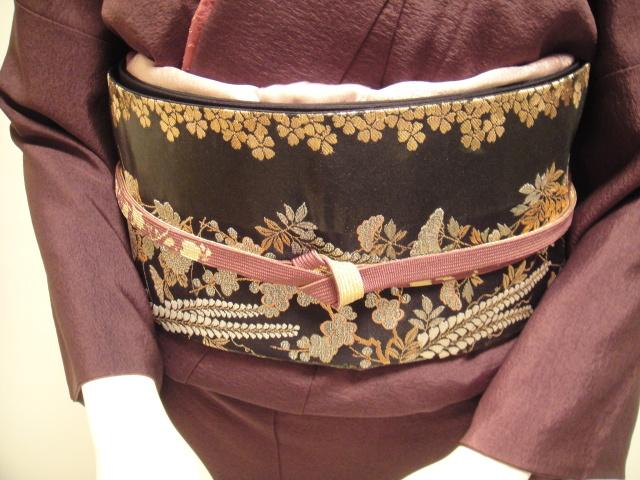 深紫三色ぼかし正絹付下訪問着 箔袋帯フルセット