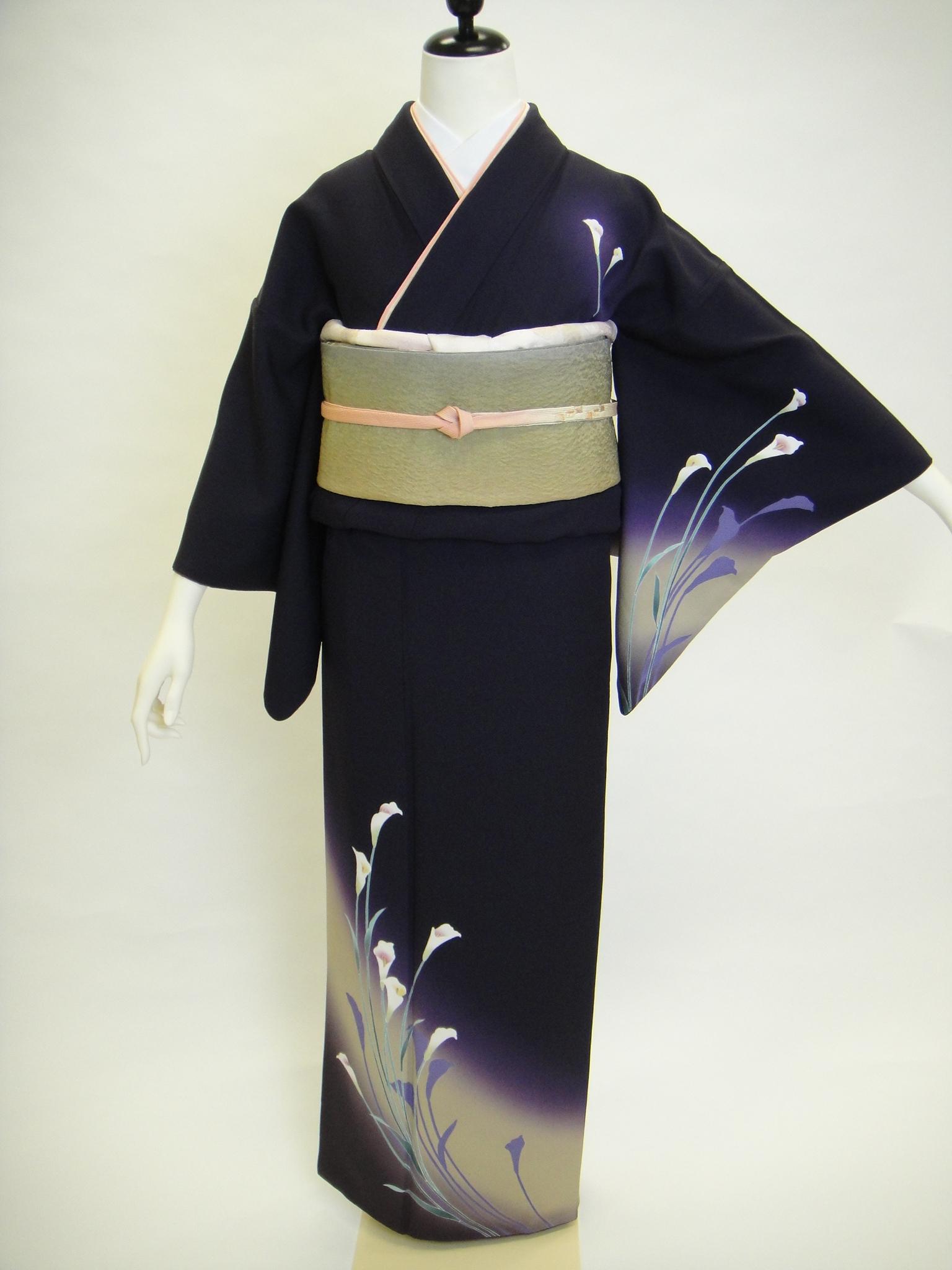 クワシ着物レンタル 紫黒色カラー柄正絹付下げ訪問着