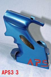 5-031APS3用カスタムグリップ/メタルブルー/サムレスト付き。