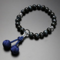 【数珠袋付き】 数珠 念珠送料無料!梵天房 青虎目石 本水晶仕立て 男性用  M-102