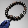 【数珠袋付き】 【メール便で送料無料】数珠・念珠正絹頭房 黒檀 素挽き 2天水晶仕立て 男性用  M-101