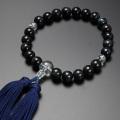 【数珠袋付き】 数珠・念珠 送料無料!みやこ房 青虎目石 本水晶仕立て 男性用  M-103