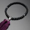 【数珠袋付き】 数珠・念珠送料無料!みやこ房 青虎目石 本水晶共仕立て 女性用  W-072
