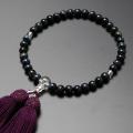 【数珠袋付き】数珠・念珠正絹頭房 青虎目石 本水晶仕立て 女性用  W-073