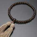 【数珠袋付き】数珠・念珠 正絹頭房 茶水晶共仕立て(女性用) W-074