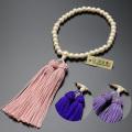 【数珠袋付き】【メール便で送料無料】数珠 念珠頭房 貝パール 共仕立て 女性用  W-075