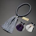 【数珠袋付き】【メール便で送料無料】数珠 念珠頭房 黒貝パール 共仕立て 女性用  W-076