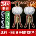 盆提灯 盆ちょうちん 【34%OFF!】 一対入り 光琳 ケヤキ 絹二重 対絵 9号 木製
