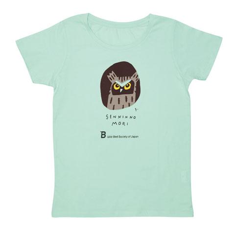 日本野鳥の会 寄付つきTシャツ 千人の森2016シャーベットグリーン(婦人用)/Sサイズのみ