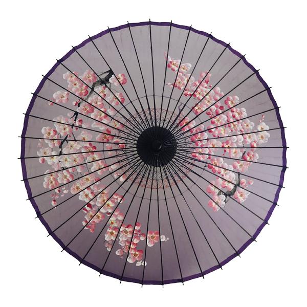 絹傘 桜絵 紫 別