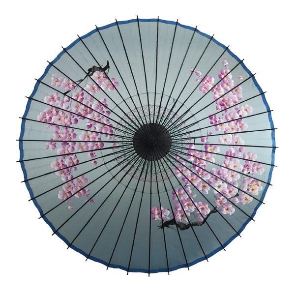 絹傘 桜絵 水色 別