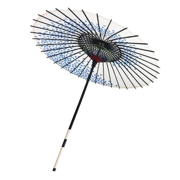 紙傘 尺4 桜渦 白地青