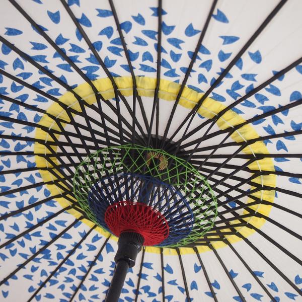紙傘 尺4 桜渦 白地青 特選