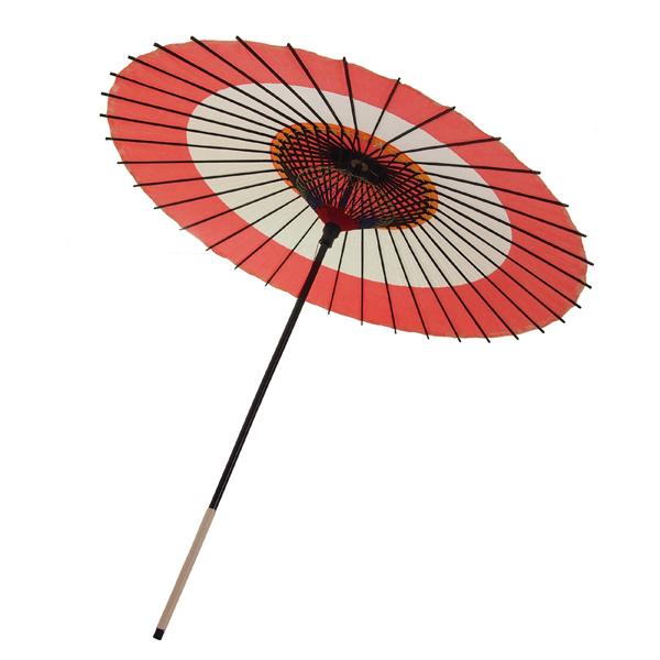 紙傘 尺5 蛇の目柄 朱色 飾り黄紙