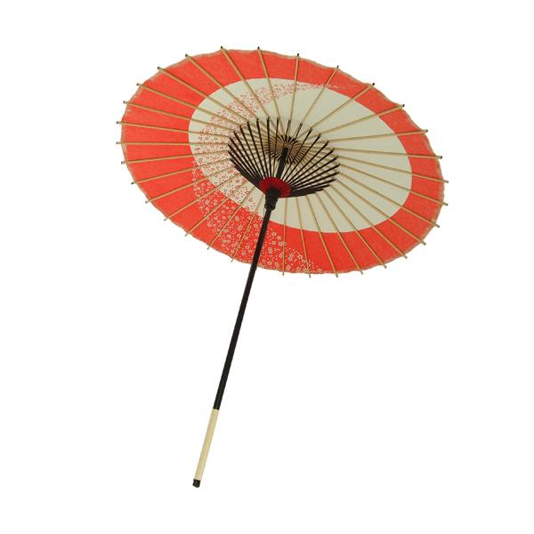 こども用和傘 月やっこ桜流し 朱色