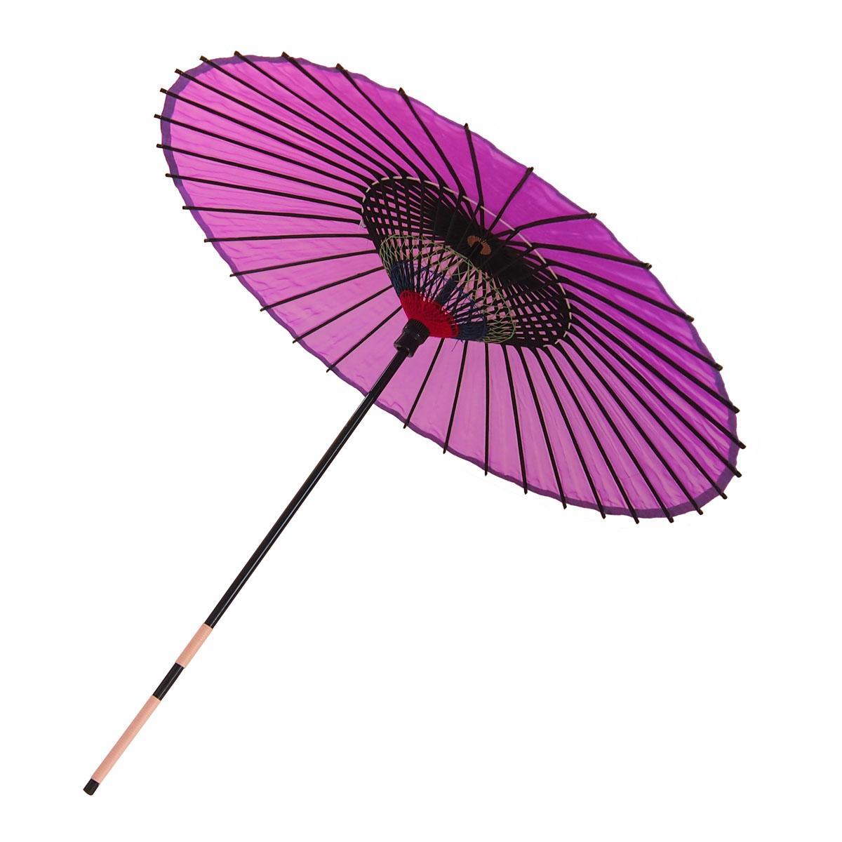 絹傘 無地 赤紫