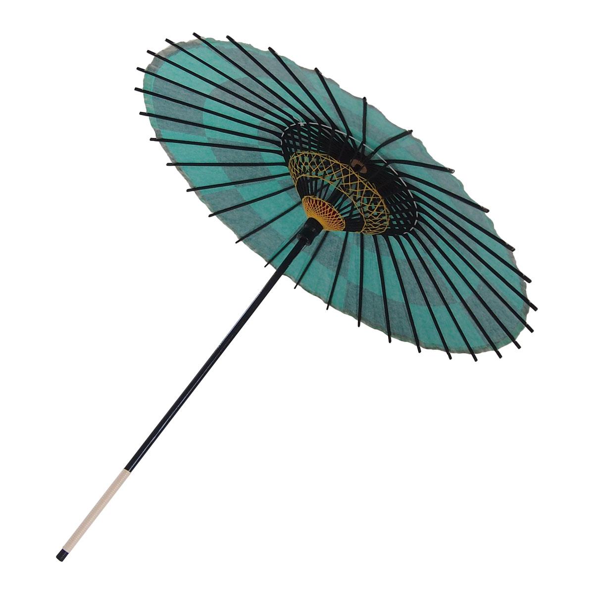 こども用和傘 市松 緑