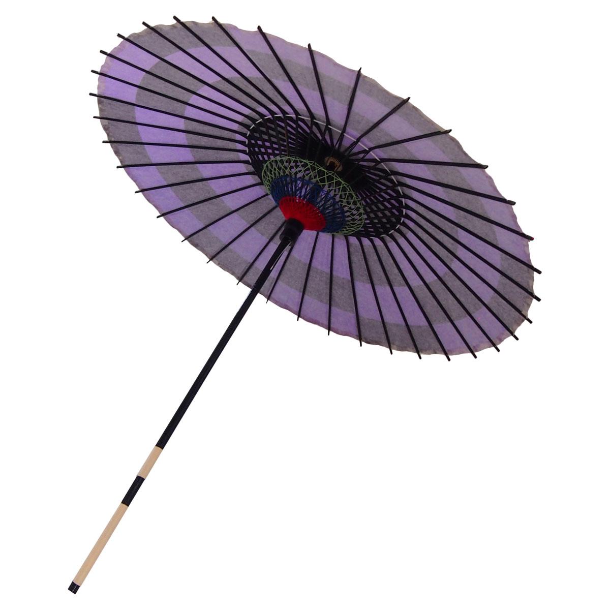 紙傘 尺4 市松 紫