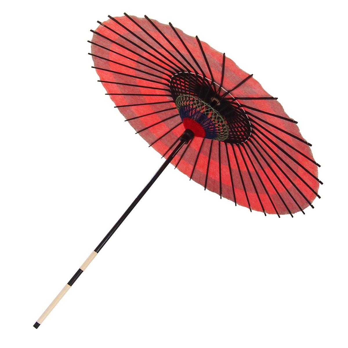 紙傘 尺4 市松 朱色