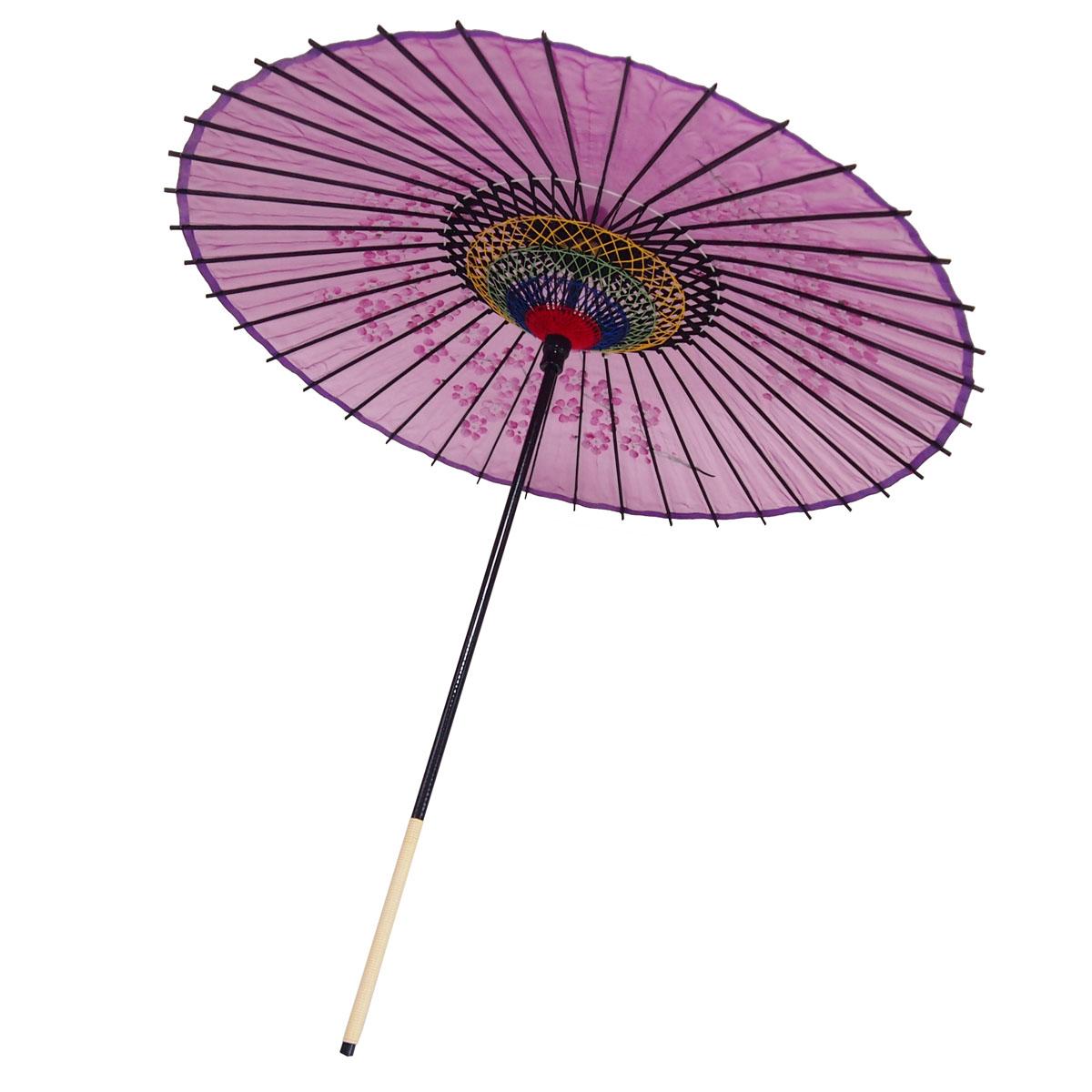 絹傘 桜絵 赤紫