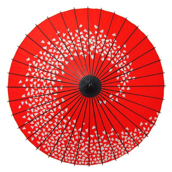 紙舞日傘 桜渦 エンジ