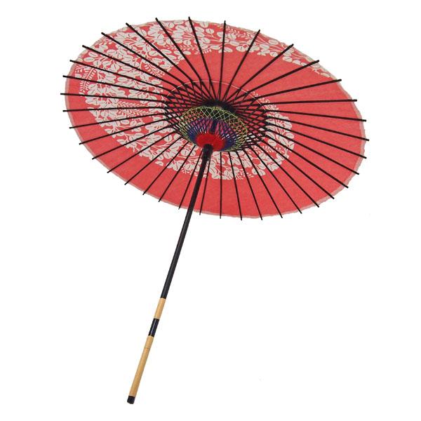 紙傘 萩渦 朱色