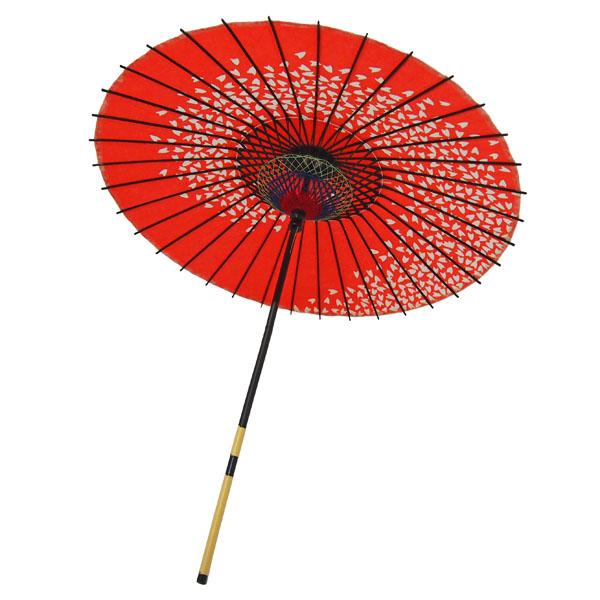 紙傘 桜渦 朱色