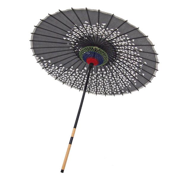 紙傘 桜渦 黒