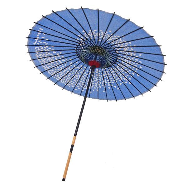 紙傘 桜渦 水色