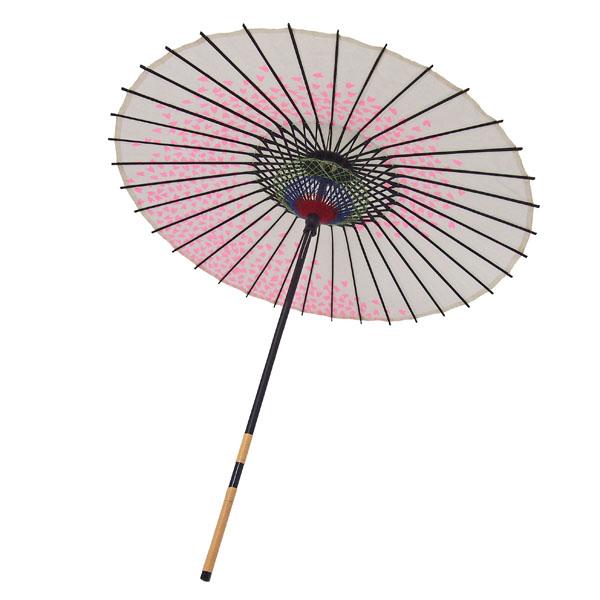 紙傘 桜渦 白地ピンク