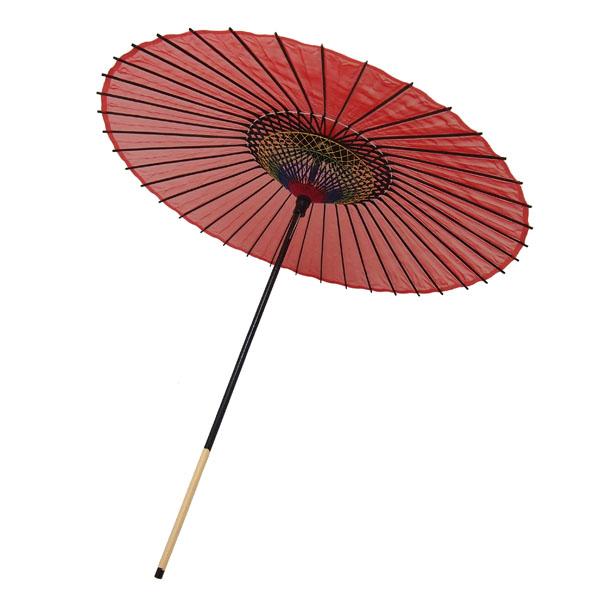 絹傘 無地 赤