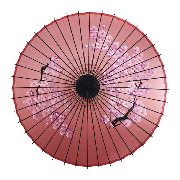 絹傘 桜絵 赤 別注品